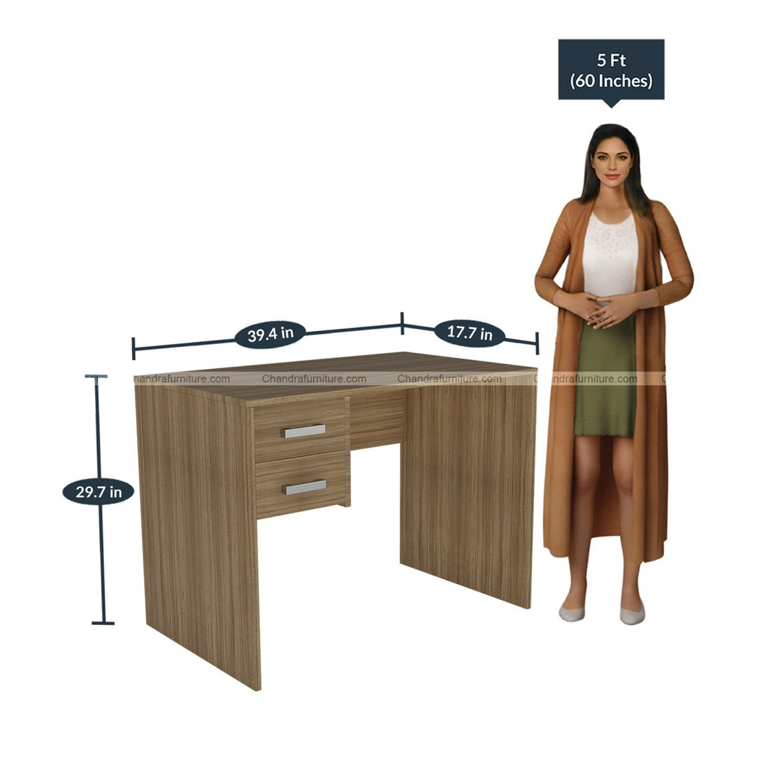 Chandra Furniture Yumi Study Desk In Light Brown Finish