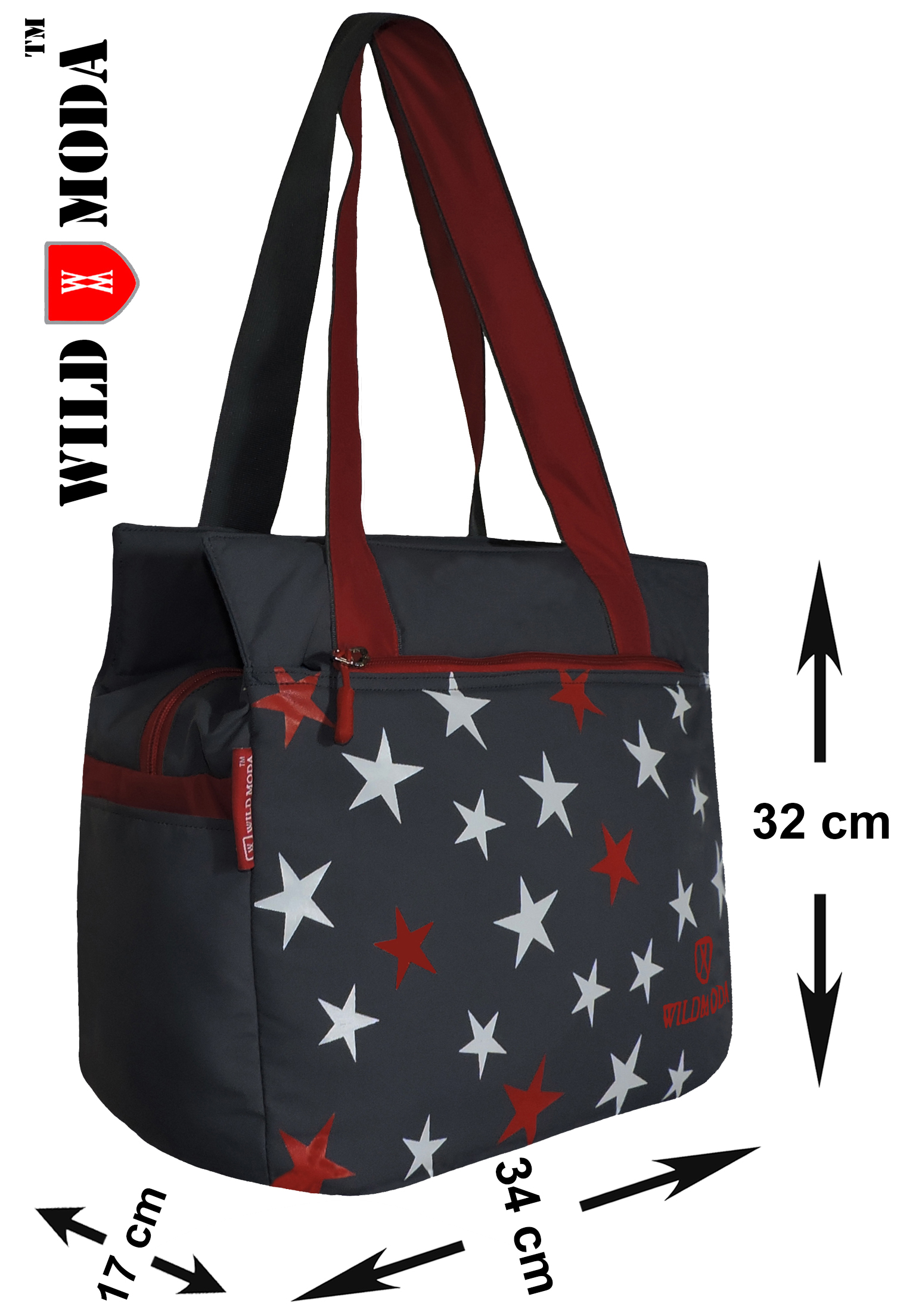 Wildmoda Women Grey, Red Tote