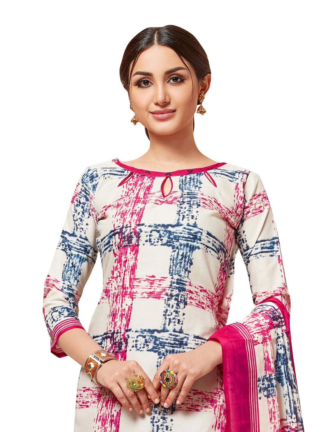 Viva N Diva Off White, Pink, Blue Colored Cotton Printed Salwar Suit