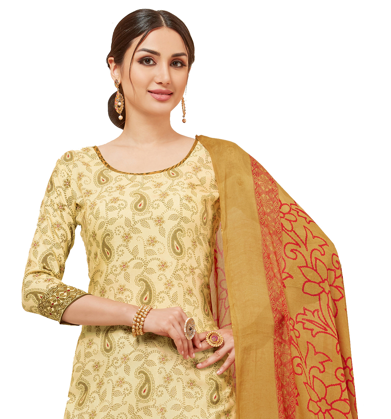 Viva N Diva Cream Colored Cotton Printed Salwar Suit Dress Material