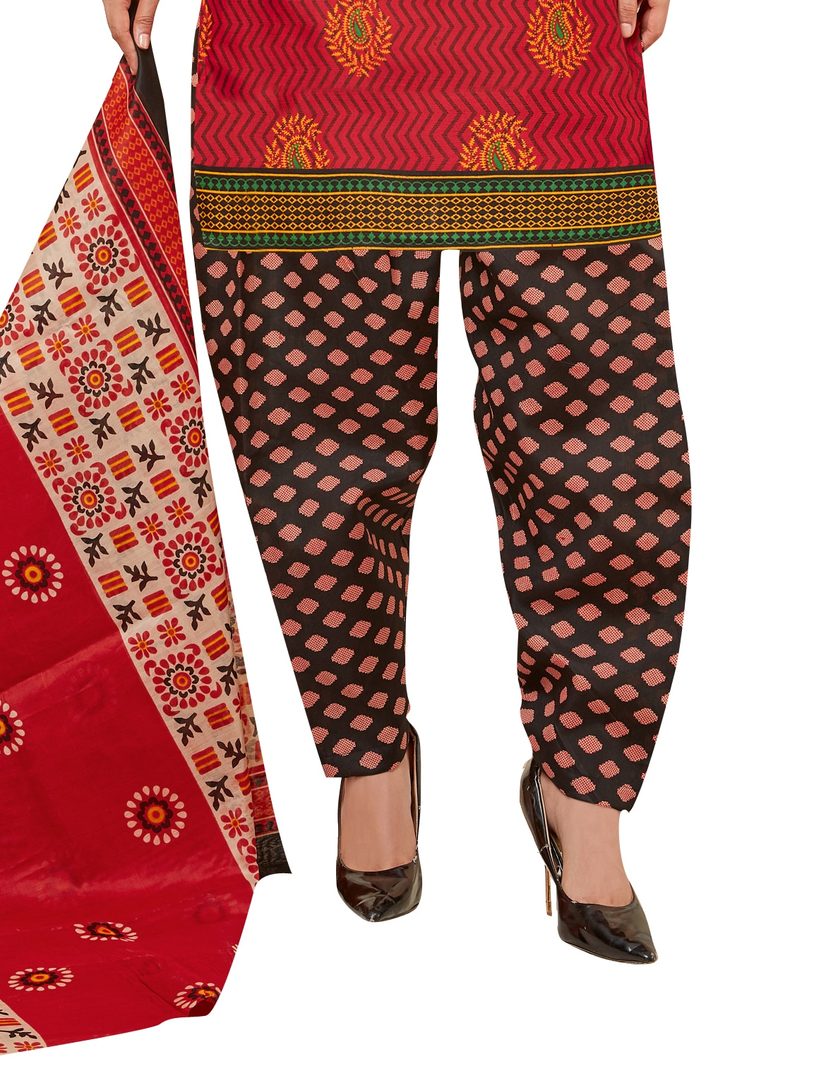 Viva N Diva Red Colored Cotton Printed Salwar Suit Dress Material