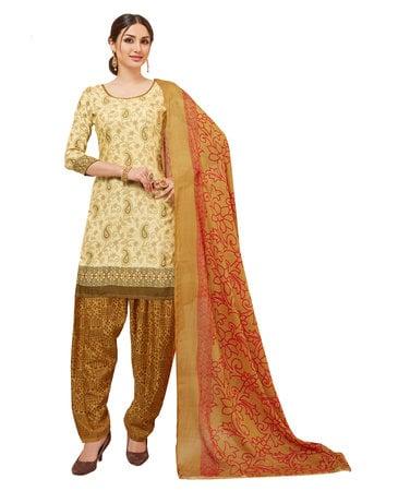 1c8b03f1ba Viva N Diva Cream Colored Cotton Printed Salwar Suit Dress Material ...