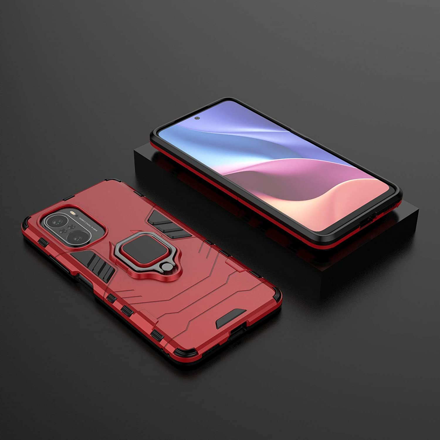 Shockproof Armor Dual Layer Protection Defender Back Case Cover For Xiaomi Redmi K40 Pro (Red)
