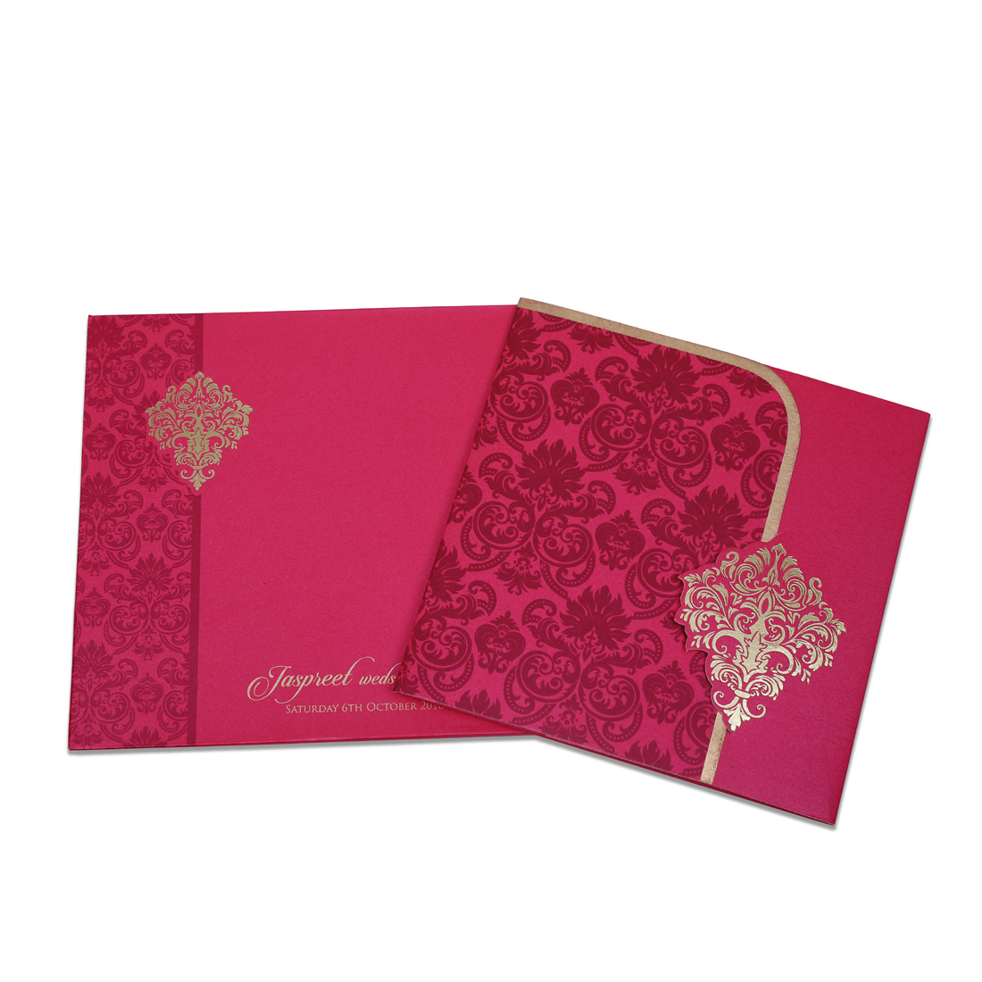 Designer Indian Marriage Invitation Card (Pink)