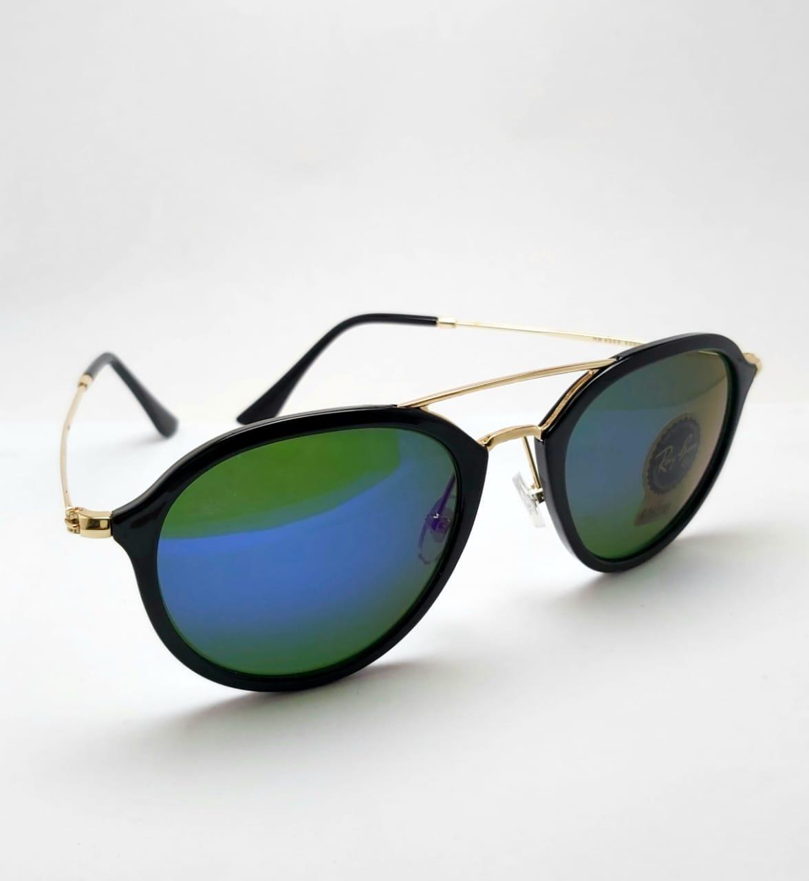 RB-4253 SUNGLASSES BLACK & GOLD FRAME _ BLUE MERCURY GLASSES