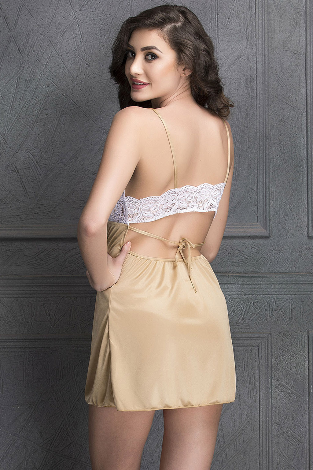 Clovia Babydoll With Sexy Back In Golden Satin In Brown (Beige, L, Loose)