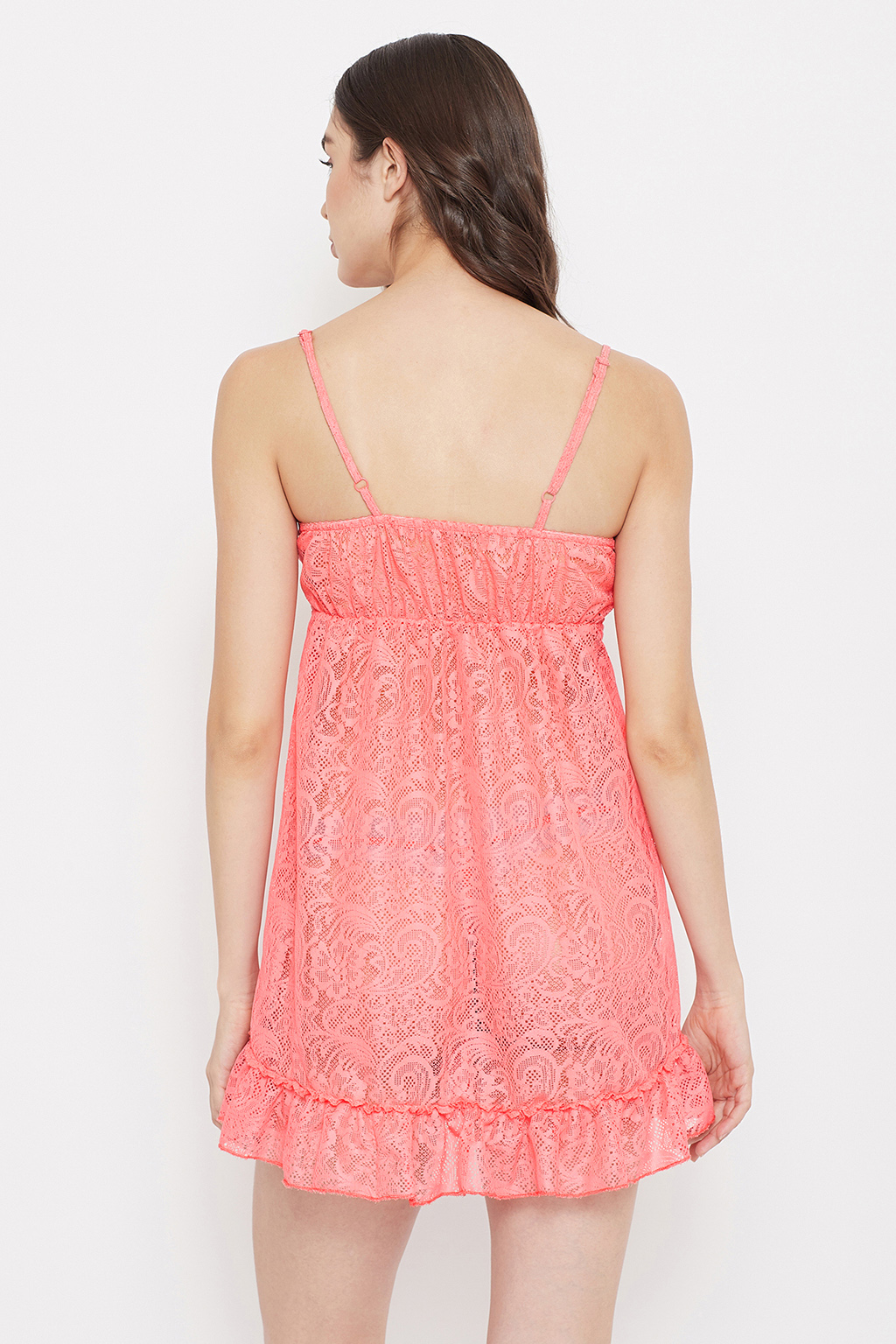 Clovia Lace Babydoll With Matching G-String (Peach, M, Loose)