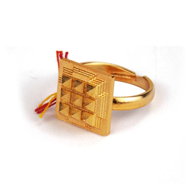 Numeroastro Vastu Pyramid Brass Ring Gold Plated For Health,Wealth & Peace Of Mind (1 Pc)