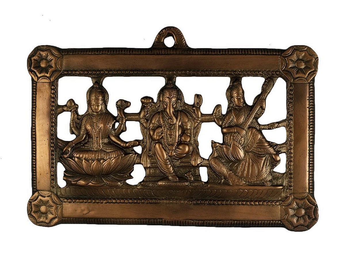 Numeroastro Beautifully Handcrafted Wall Hanging Shri Laxmi,Ganesh & Saraswati Ji Idol In Copper (25 Cms) (1 Pc)