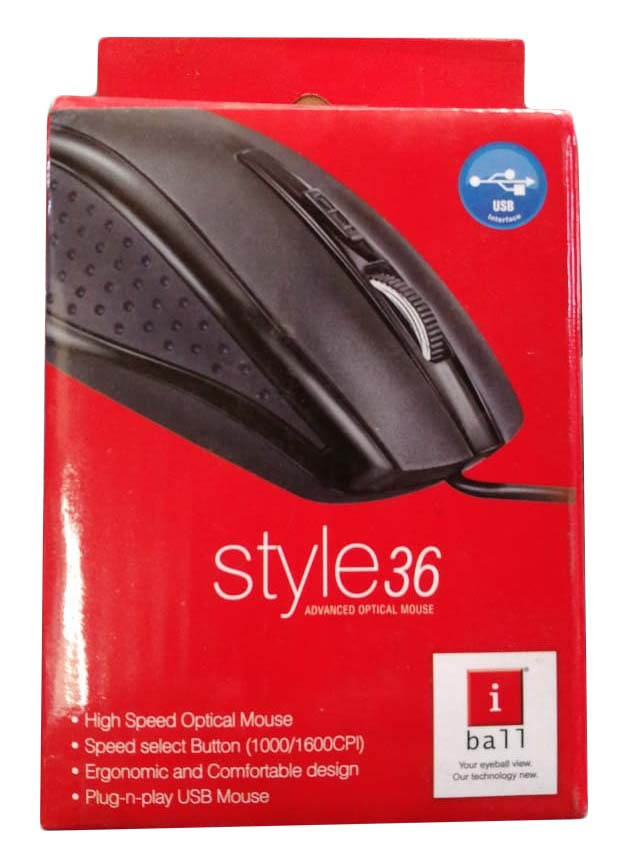 IBall Style36 Advanced Optical USB Mouse,Black