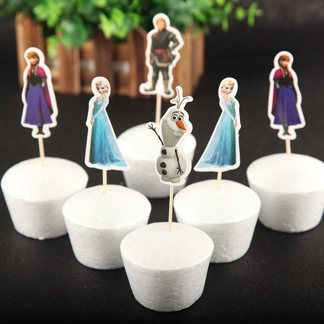 Frozen Elsa And Anna Theme Cake Dessert Cupcake Toppers Girls - Divena In