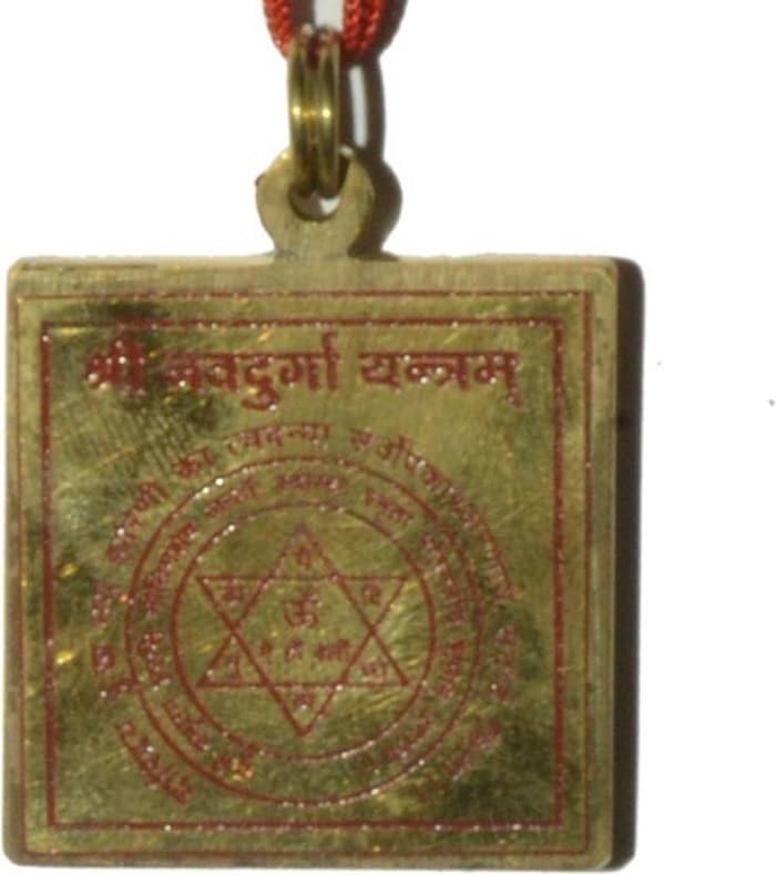 Numeroastro Shri Navdurga Yantra Pendant In Brass For Health,Wealth & Good Luck (1 Pc)