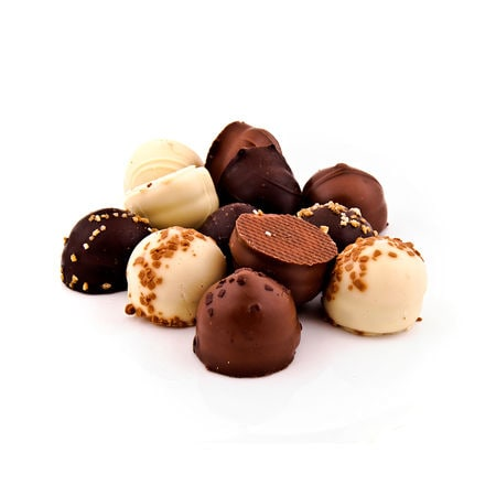 10 Pcs (100 GMS) Home Made Dark Truffle Chocolates In Assorted Shapes, 100% Veg