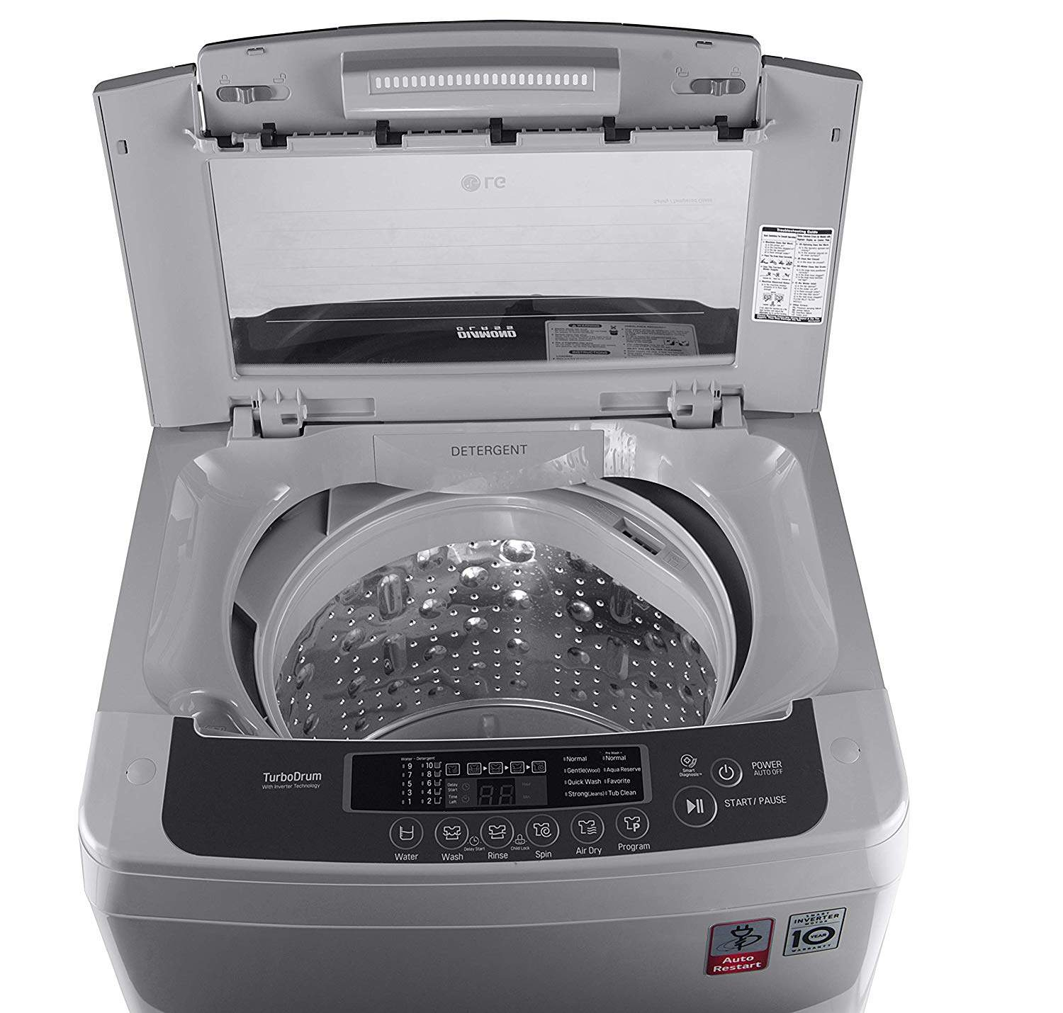 LG 6.5 Kg Fully Automatic Top Load Washing Machine Silver (T7569NDDLH)