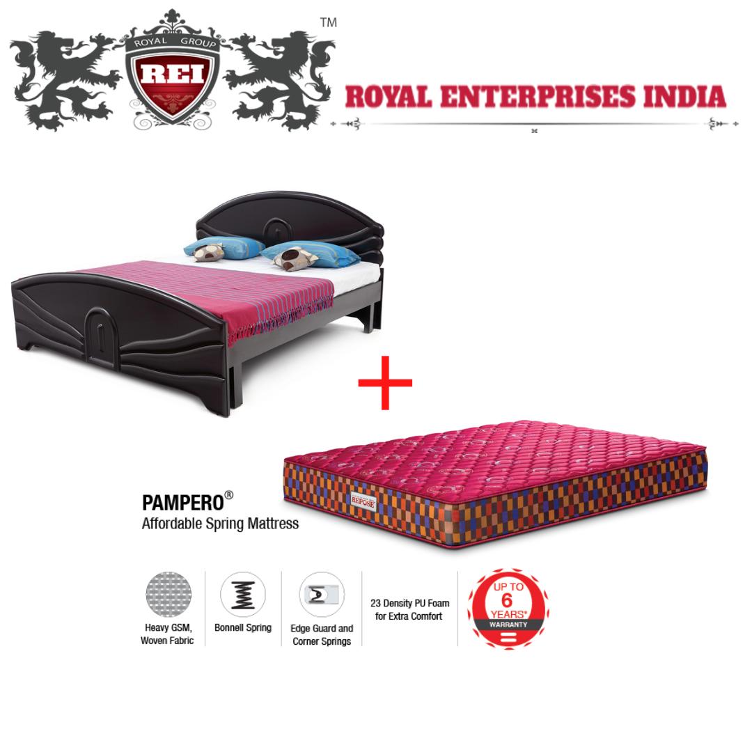 Queen Bed W/O Storage & Repose Spring Mattress 6 Inch.