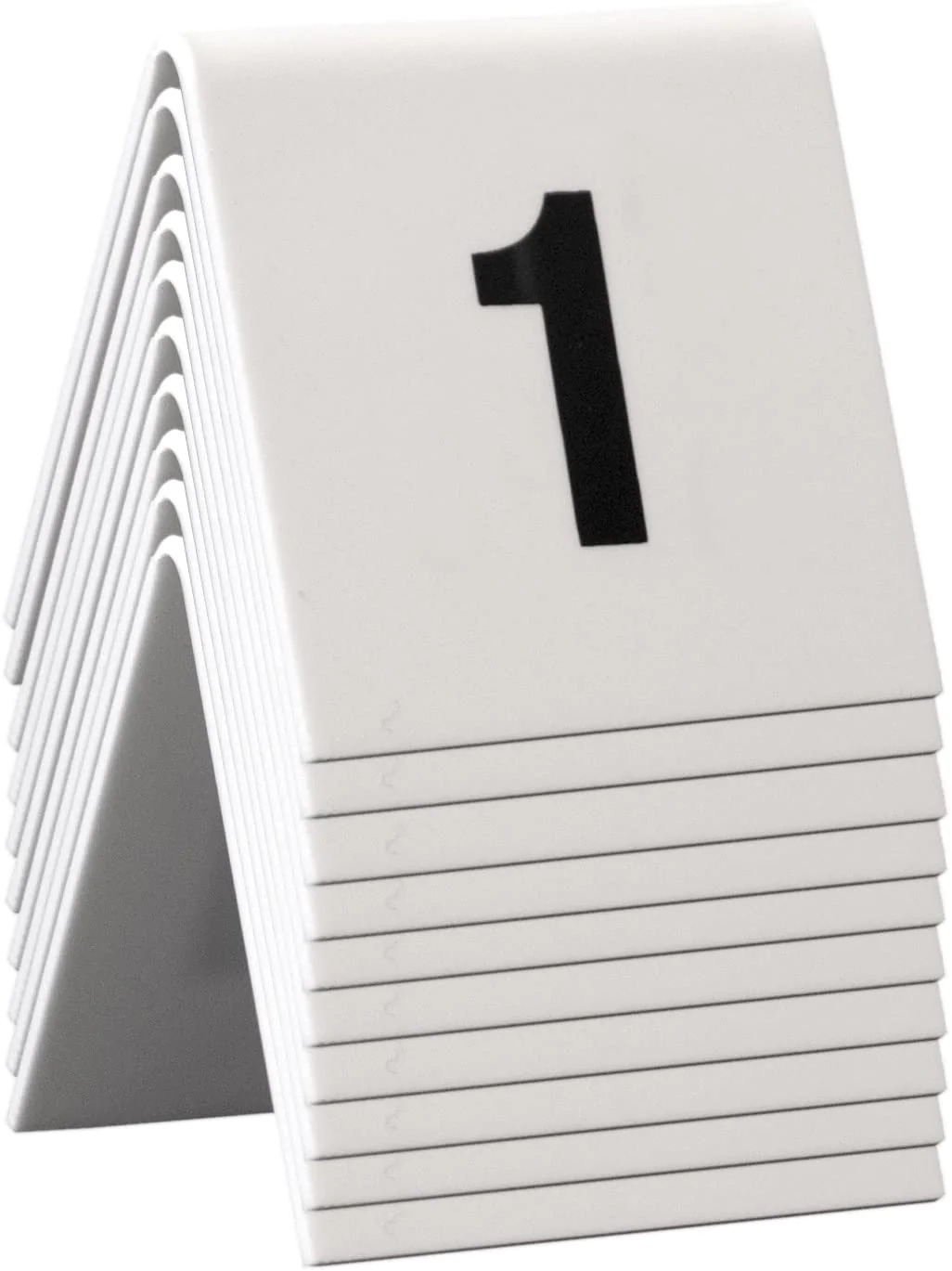 SECURIT TN-1-10-WT Table Boards - Accessories Signssecurit® Table Numbers From 1-10 - White Acrylic Standards With Black Numbers - Set Of 105,2X5,2X4,5Cm   0,1Kgwhite