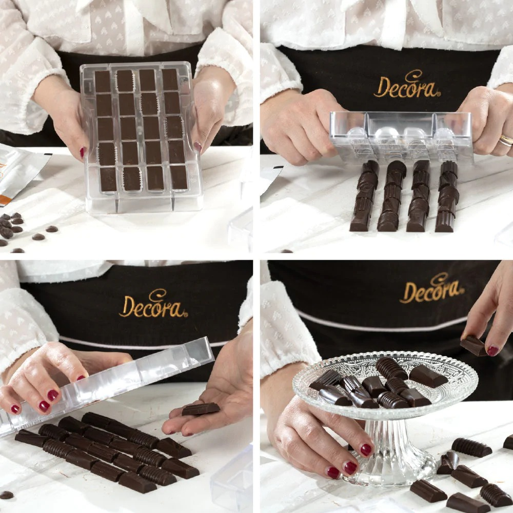 DECORA 50141 Chocolate Mould Assorted Dimension : 20 Cavities Of 33 X 16 X 8 H Mm - Mold 200 X 120 X 20 H Mm