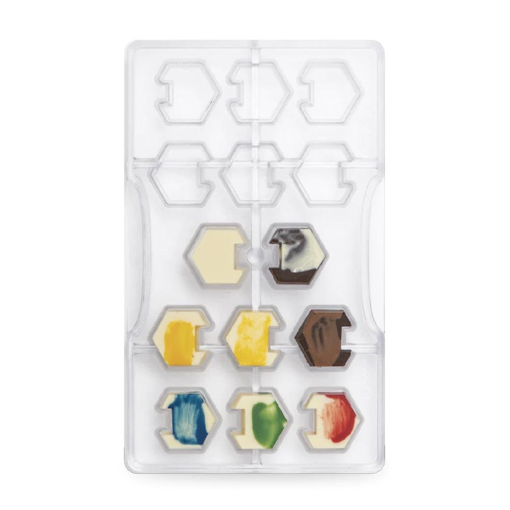 DECORA 50121 Interlocking Hexagon Dimension : 14 Cavities Of ø 30 X 10 H Mm - Mold 200 X 120 X 20 H Mm