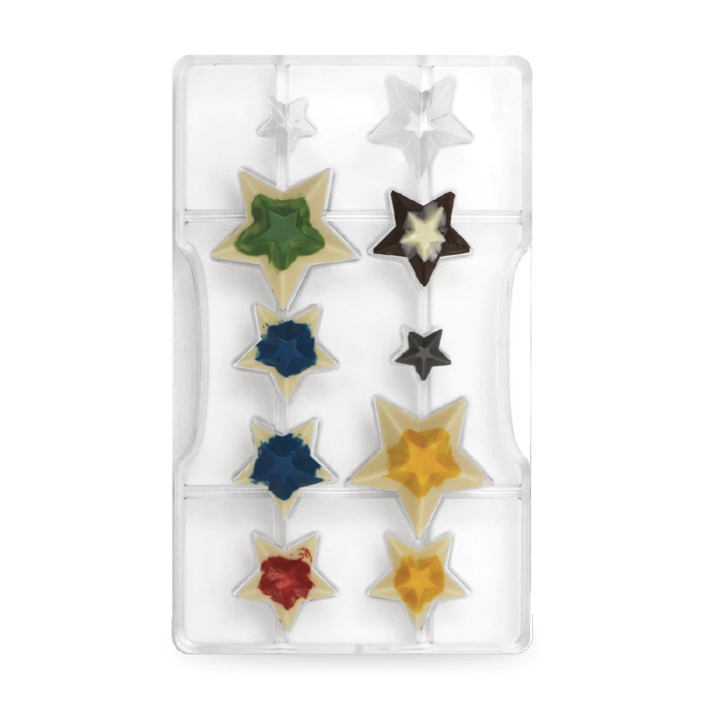 DECORA 50134 Star Chocolate Mold Dimension : 10 Cavities From ø 50 - 35 - 20 X 15 H Mm - Mold 200 X 120 X 20 H Mm