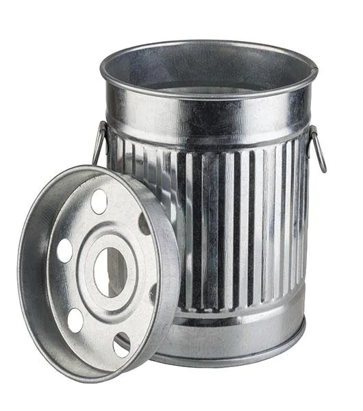 APS 578 Ashtray -Smoky- Ø 8,5 Cm, H: 11,5 Cm Galvanized Metal With Removable Lid 578