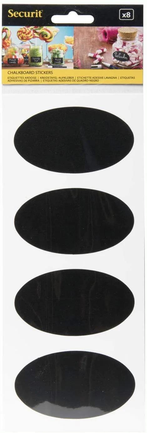 SECURIT CS-OVAL-8 Self Adhesive Chalkboard - Stickers Securit® Oval Chalkboard Stickers - Set Of 8 4,7X8X0,004Cm | 0,01Kg Black