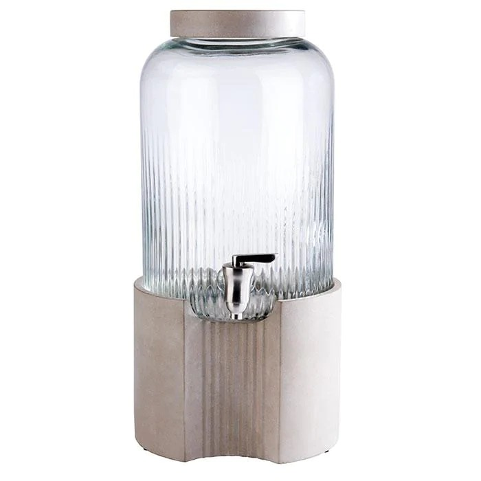APS 10400 Drinks Dispenser -Element- 22 X 22 Cm Height 45 Cm Volume 7 L Colour Transparent, Grey Material Stainless Steel, Silicone, Glass, Concrete