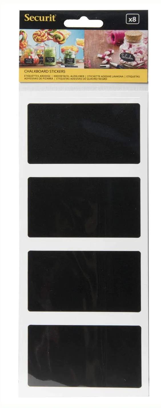 SECURIT CS-RECT-8 Self Adhesive Chalkboard - Stickers Securit® Rectangle Chalkboard Stickers - Set Of 84,7X8X0,004Cm | 0,01Kg Black