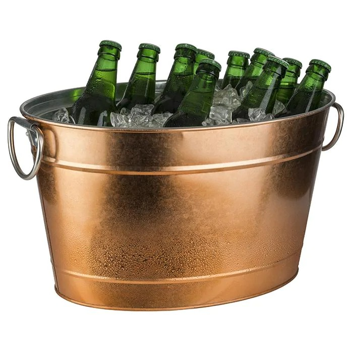 APS 36100 Beverage Tub -Tin- 40 X 28 Cm, H: 22 Cm Metal, Galvanized, Pvc Outside Copper Look With Plastic Insert 11 Ltr 36100