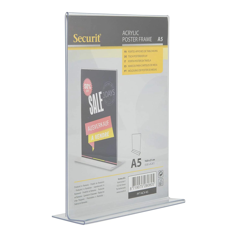 SECURIT PFT-ACV-A5 Poster Frames - Acrylic Securit® Transparent Poster Holder - Vertical - Portrait - A521,3X15X5,4Cm   0,1Kg Transparent