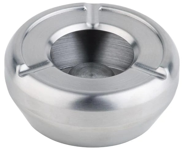 APS 91 Ashtray Round Ø 12 Cm Stainless Steel Stackable, With Wind-Cover In Colour Box 91