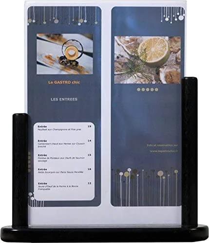 SECURIT PFT-BL-LA Posterframes - Tablesecurit® Table Poster Frame - Lacquered Hard Wood Finish - Removable Transparent Frame - A432,3X27,1X7Cm   0,5Kgblack Pft-Bl-La