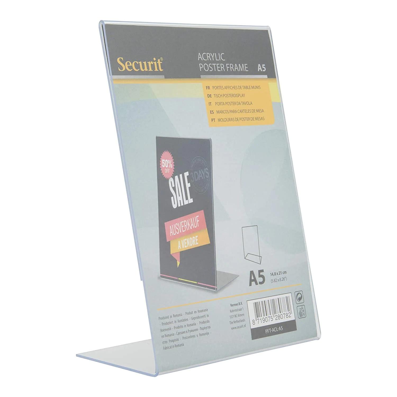 SECURIT PFT-ACL-A5 Posterframes - Acrylic Securit® Transparent Poster Holder - L-Shaped - Portrait - A521,4X15,1X7,4Cm | 0,1Kg Transparent