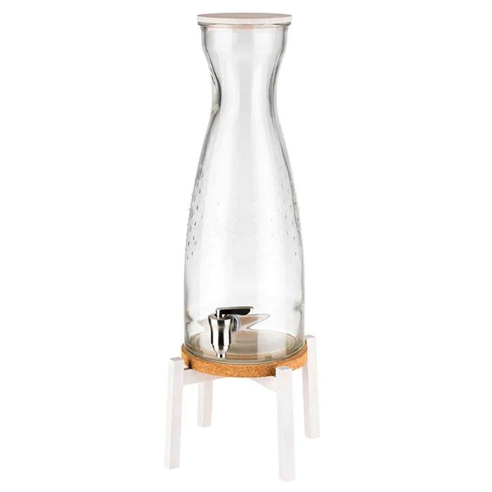 APS 10420 Drinks Dispenser -Fresh White-23 X 23 Cm, H: 56,5 Cm Glass Container Stainless Steel Tap White Wooden Lid White Wooden Base Cork Coaster 4,5 Ltr. 10420