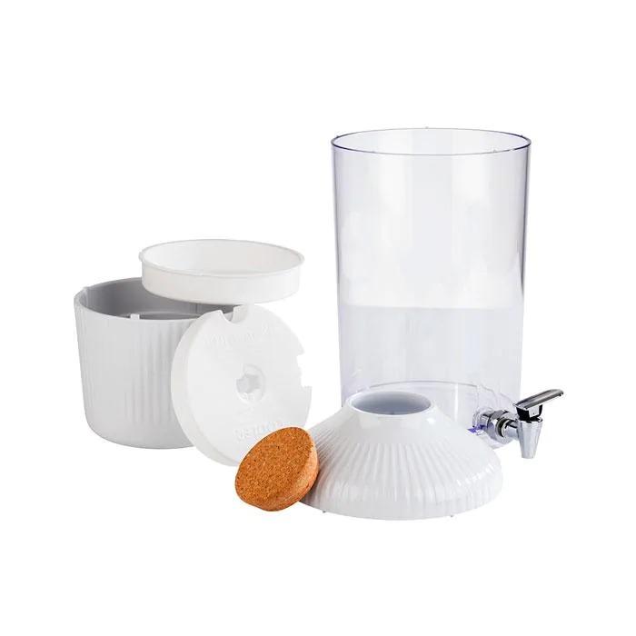 APS 10406 Drinks Dispenser -Ginger-20 X 20 Cm Height 49,5 Cm Volume 6 L Colour White, Transparent Material Stainless Steel, Melamine, SAN, Cork