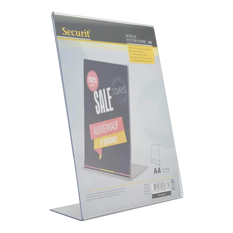 SECURIT PFT-ACL-A4 Posterframes - Acrylic Securit® Transparent Poster Holder - L-Shaped - Portrait - A432X21,2X8,1Cm | 0,2Kg Transparent