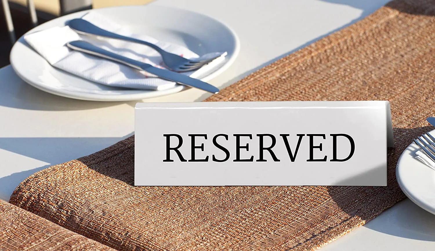 SECURIT TN-RES-EN-WT Table Boards - Accessories Signssecurit® Reservation Table Stands With English: 'Reserved' - White Acrylic Standards With Black Font - Set Of 5 5X10X4,5Cm | 0,1Kgwhite Tn-Res-En-Wt