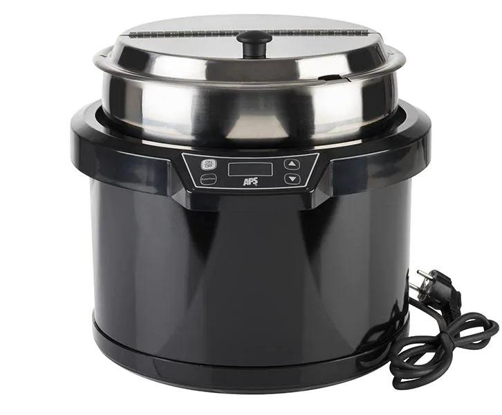 APS 11903 Electrical Soup Pot Ø 34 Cm, H: 33 Cm, 10 Litres Stainless Steel, Polycarbonate Metal, Black Digital Temperaturedisplay 1.000 Watt / 230 Volt 11903