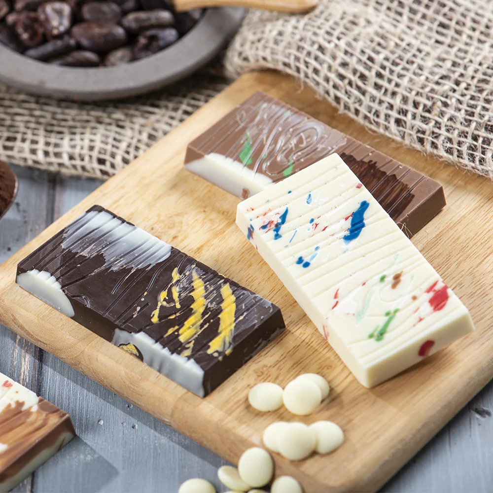 DECORA 50130 Wooden Bar Chocolate Mould Dimension : 4 Cavities With ø 85 X 42 X 10 H Mm - Mold 200 X 120 X 20 H Mm