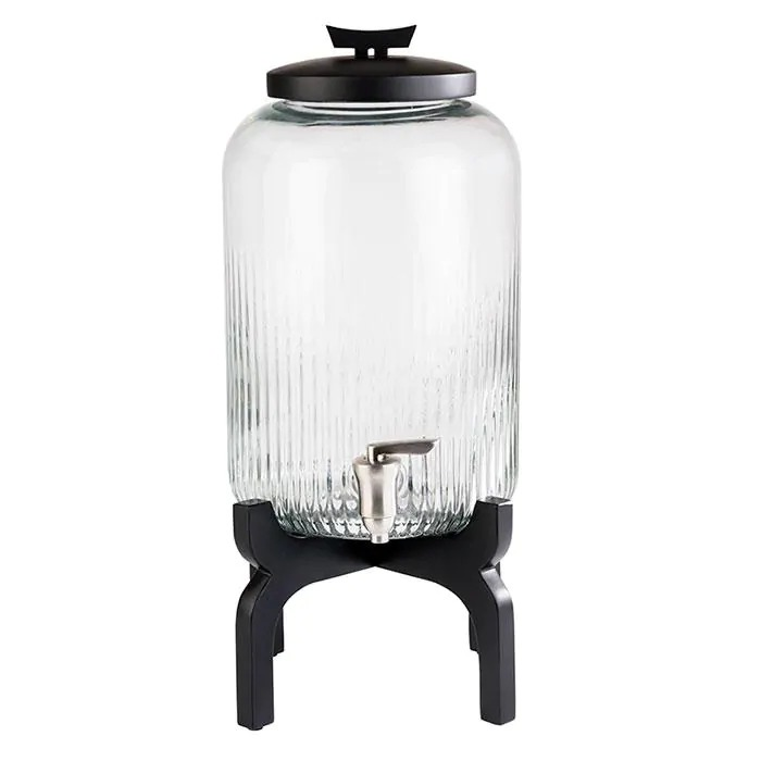 APS 10403 Drinks Dispenser -Asia- 24,5 X 24,5 Cm Height 45,5 Cm Volume 7 L Colour Transparent, Black Material Stainless Steel, Silicone, Glass, Wood