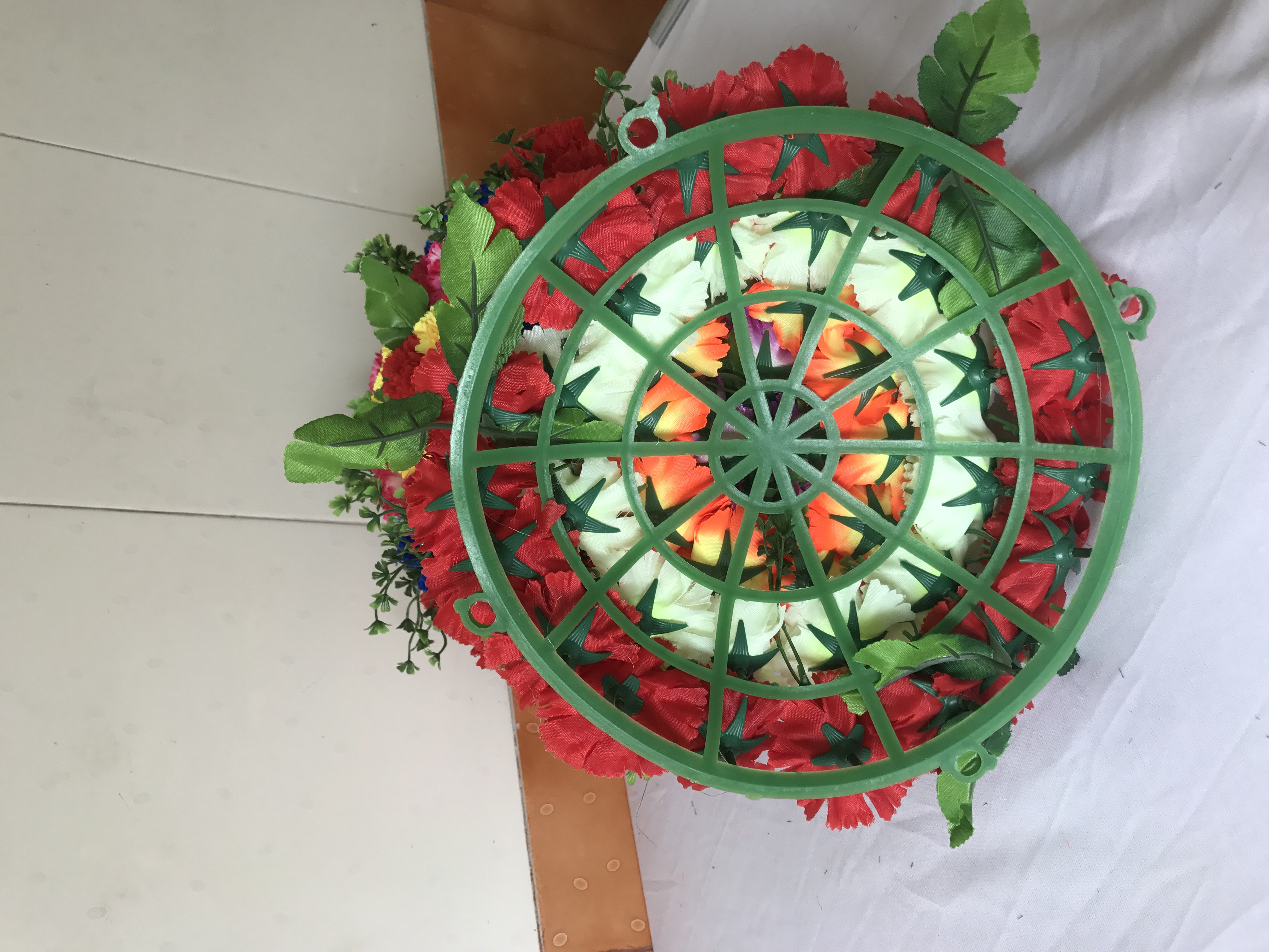 Artificial Flowers Wall Hanging Round Basket N275