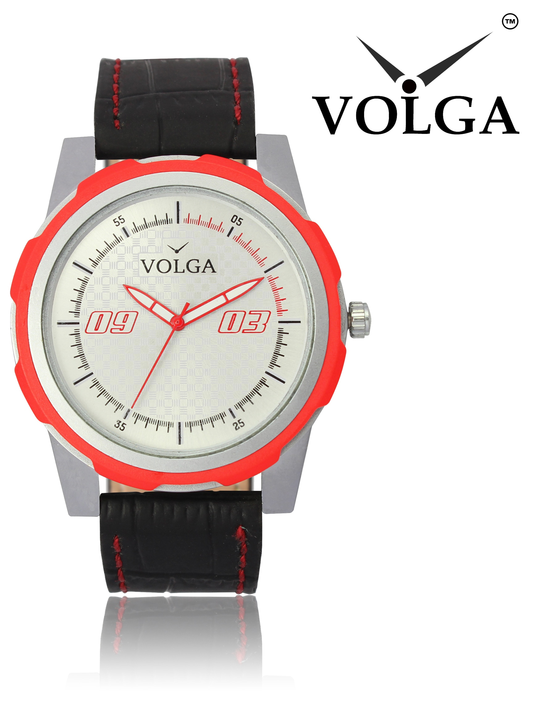 Volga Analogue Silver Dial And Black Leather Strap Watch For Boys &Men's