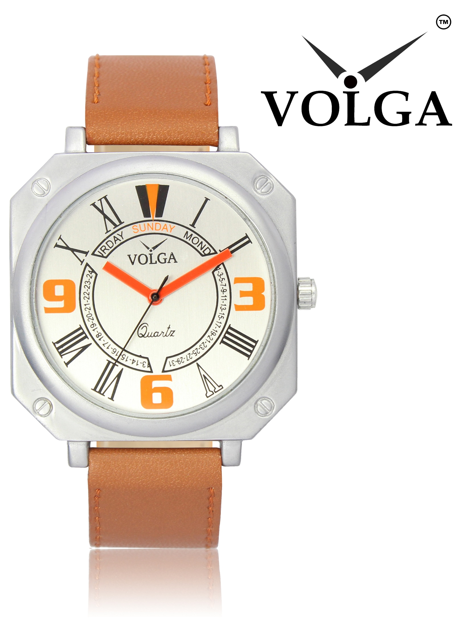 Volga Analogue Sports White  Dial Brown Leather Men's Watch