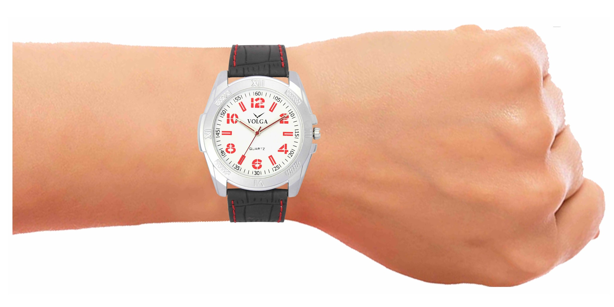 Volga Collection Quartz Movement New Professional White Dial And Black Leather Strap Watch For Boys And Men