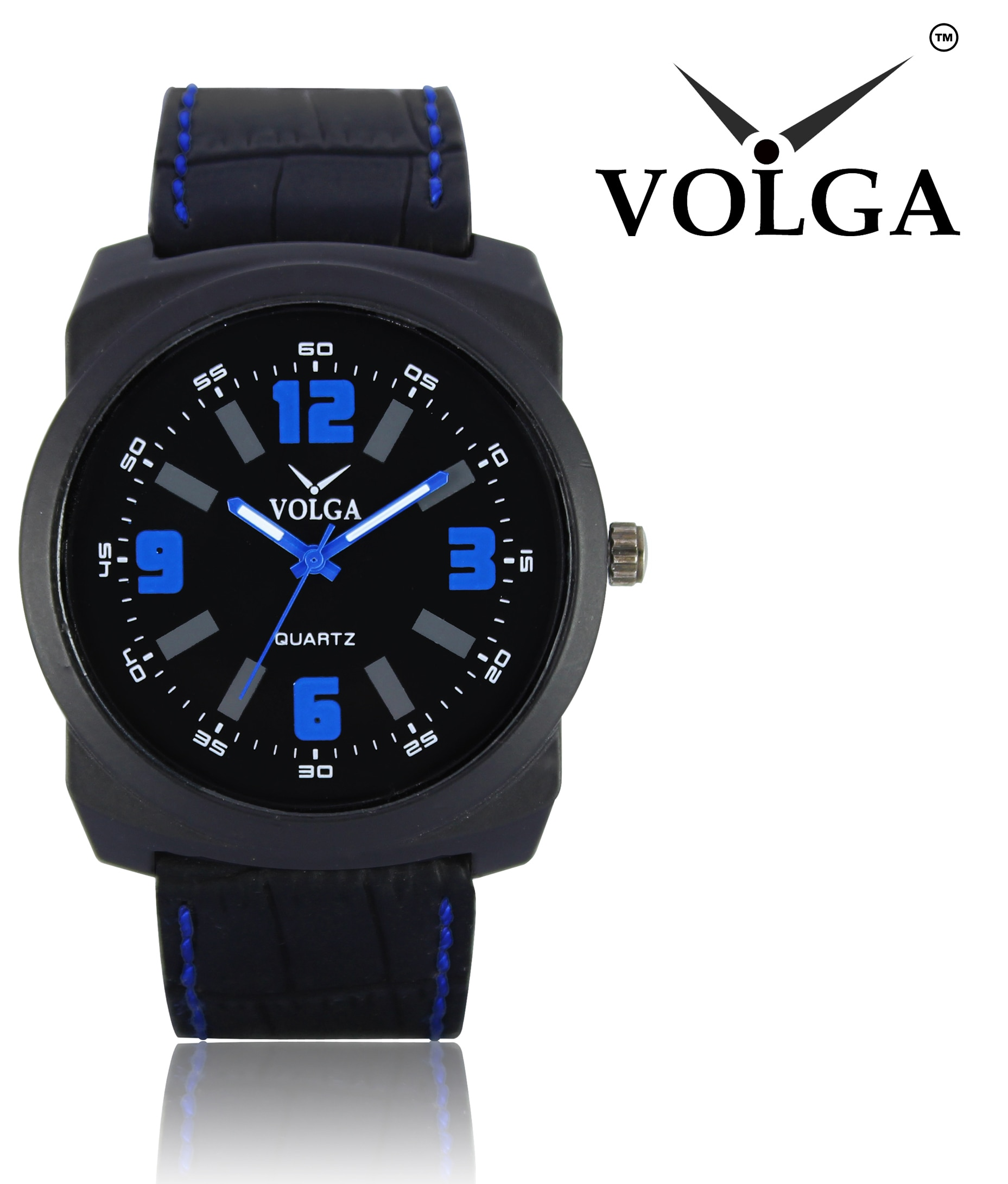 Volga Collection Analogue Round Black Dial And Black Leather Strap Quartz Movement Sport Watch For Boys And Men