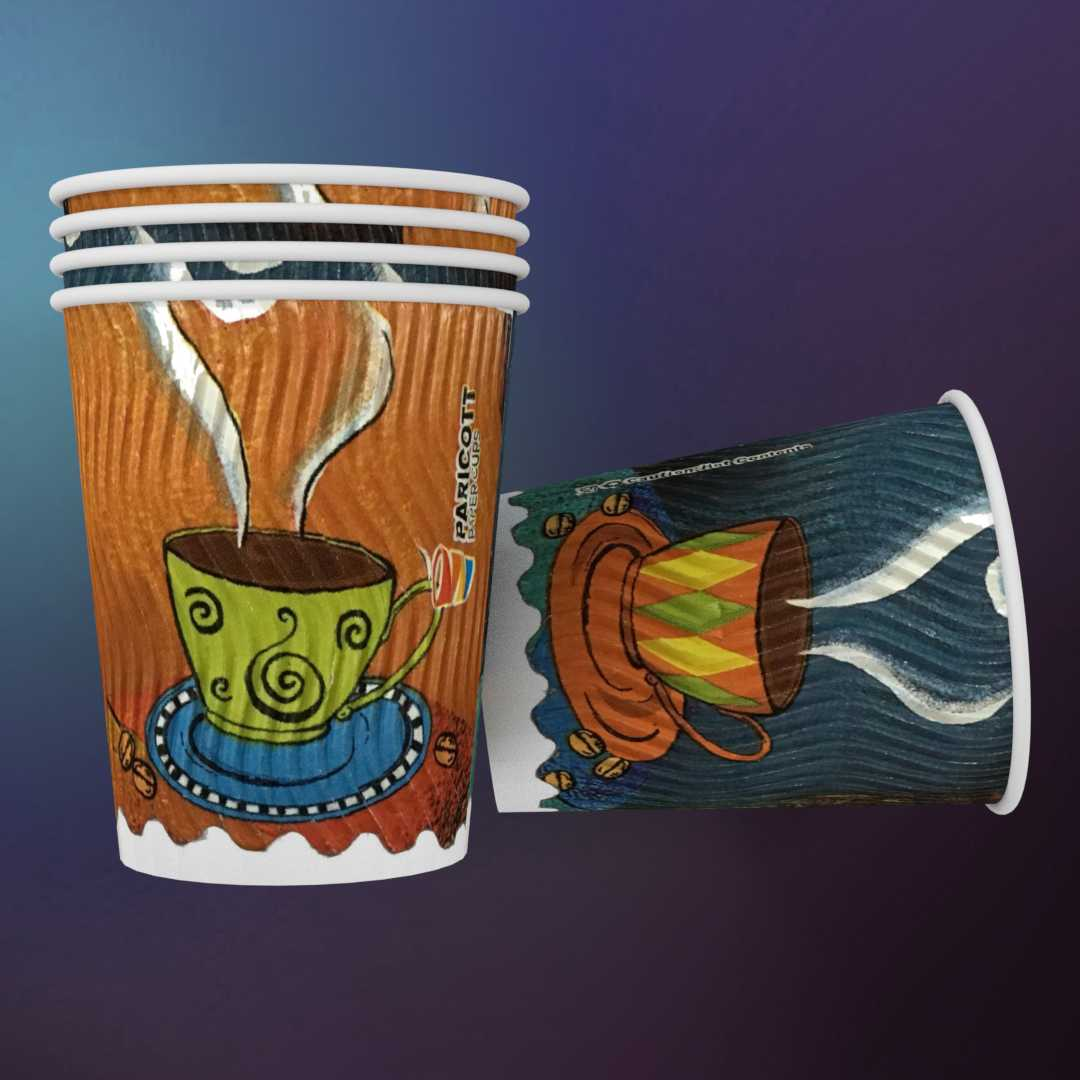 200ml Rippled Multi Color Paper Cup (Rippled Cup, 500)