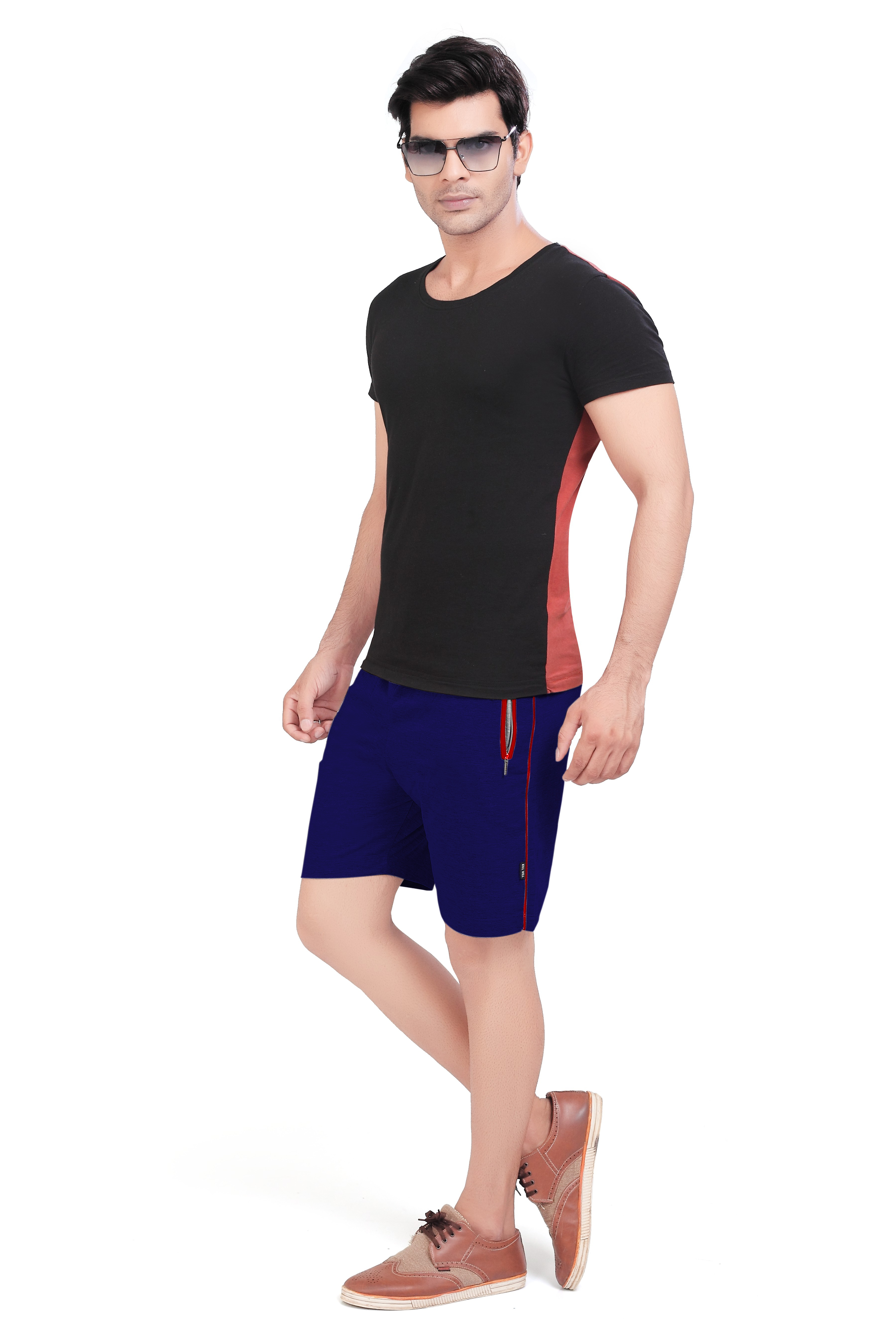 Cotton Mid Rise Shorts With Insert Pocket For Men (4XL, Royal Blue)