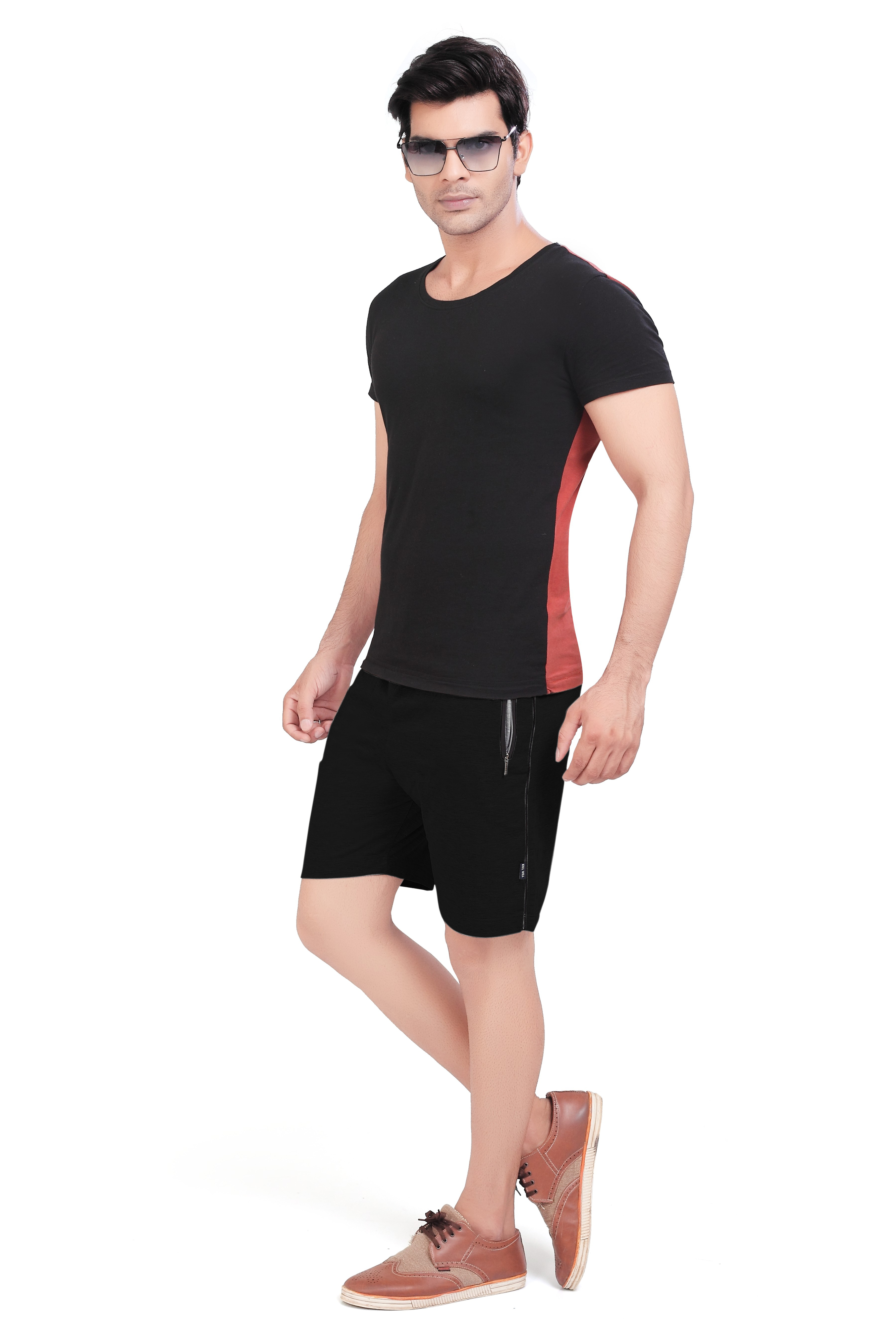 Cotton Mid Rise Shorts With Insert Pocket For Men (5XL, Black)