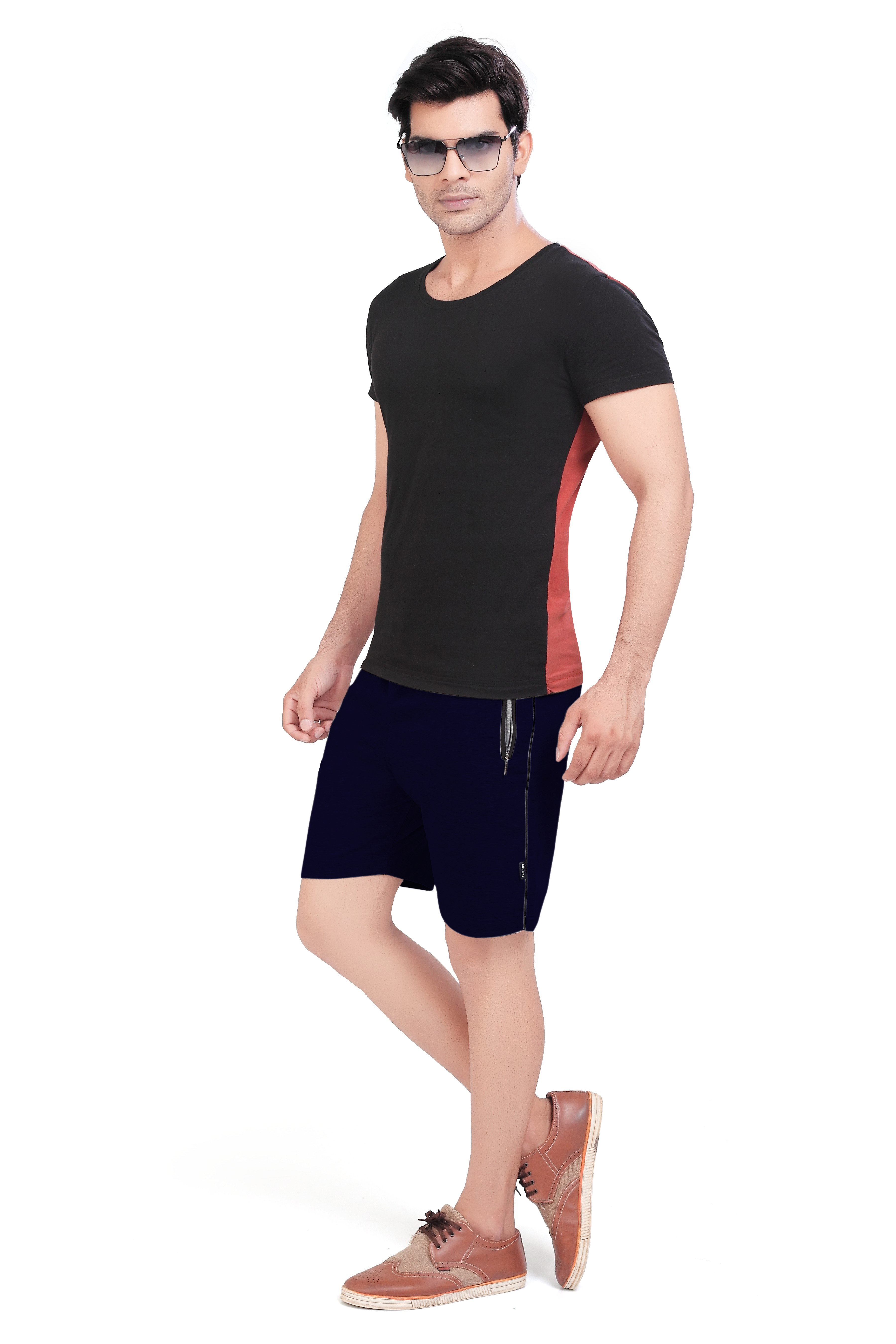 Cotton Mid Rise Shorts With Insert Pocket For Men (4XL, Navy Blue)