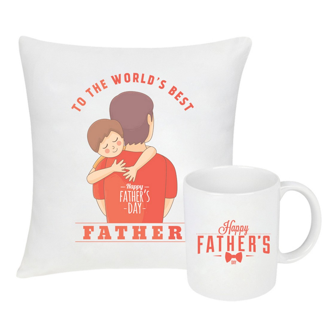 Sattva Combo Premium Printed Cushion Cover With Filler 12 X12 Inches & Ceramic Mug 350 ML EVSCOCM08 For Father's Day
