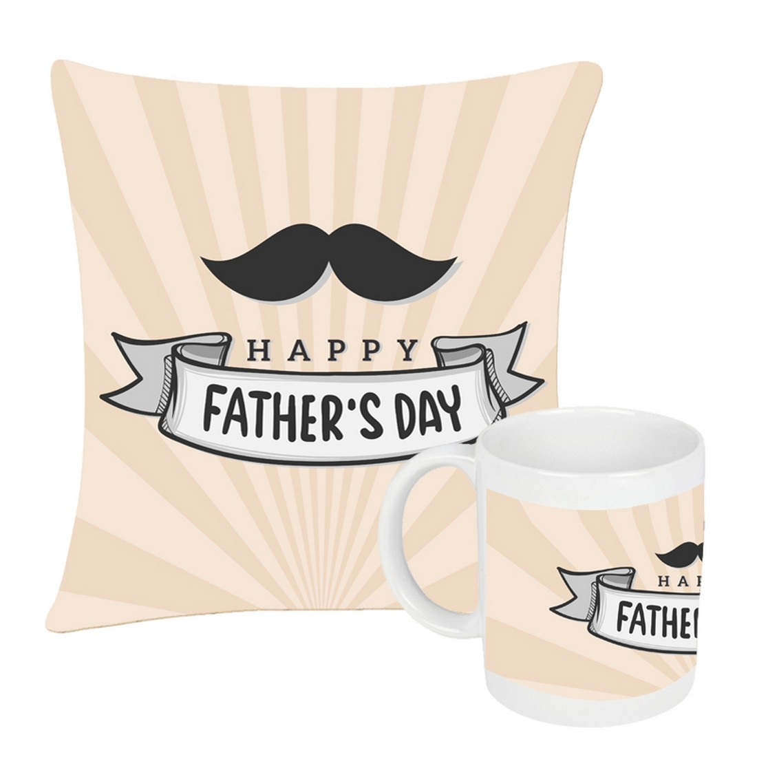 Sattva Combo Premium Printed Cushion Cover With Filler 12 X12 Inches & Ceramic Mug 350 ML EVSCOCM011 For Father's Day